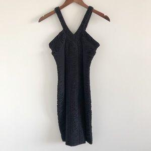 Anthro Leifsdottir Black Ruched Bodycon Dress XS